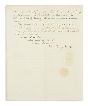 ADAMS, JOHN QUINCY. Letter Signed, to Representative Julius Rockwell,