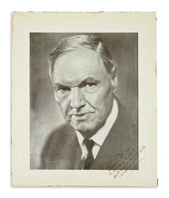 DARROW, CLARENCE. Photograph Signed and Inscribed, To Ernestine R Haig / With kind remembrance, reproduction of bust portrait by Mura