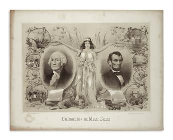 (PRINTS--MEMORIAL.) Kimmel & Forster; lithographers. Columbias Noblest Sons.