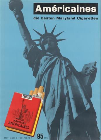DESIGNER UNKNOWN. AMÉRICAINES / DIE BESTEN MARYLAND CIGARETTEN. Circa 1950. 49x35 inches, 125x89 cm. Lithographie & Cartonnage, Zurich.