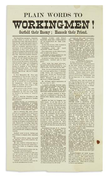 (PRESIDENTS--1880 CAMPAIGN.) Plain Words to Workingmen! Garfield their Enemy; Hancock their Friend.