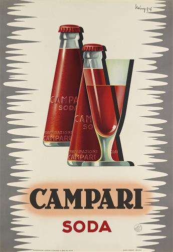 GIOVANNI MINGOZZI (1891-?). CAMPARI SODA. 1950. 38x26 inches, 98x67 cm. Studio Mingozzi, Bologna.