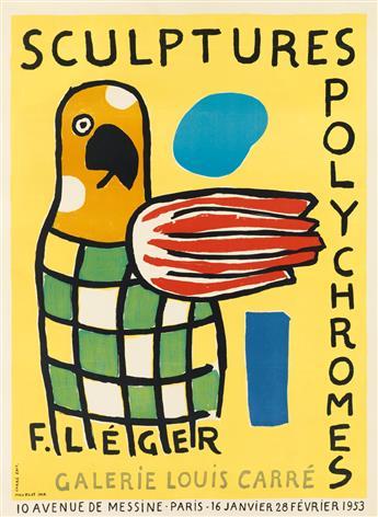 FERNAND LÉGER (1881-1955). SCULPTURES POLYCHROMES / GALERIE LOUIS CARRÉ. 1953. 25x18 inches, 64x47 cm. Mourlot, Paris.