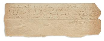 JOHN ADAMS. Two Autograph Documents Signed, in the third person within the text, receipts, each making payment to partie...
