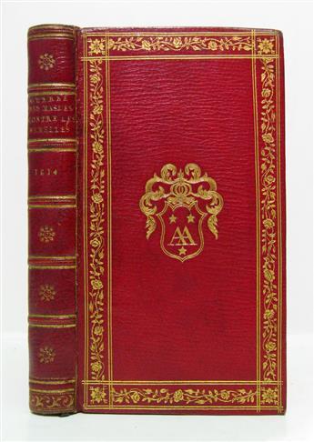 CHOLIÈRES, NICOLAS DE. La Guerre des Masles contre les Femelles.  1614.  Audenet-Nodier-Hoe-Bishop copy.