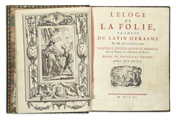 ERASMUS, DESIDERIUS.  L'Éloge de la Folie.  1751.  Large-paper copy.