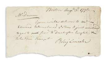 LINCOLN, BENJAMIN. Brief Autograph Letter Signed, Benj Lincoln, to MA Commissary General Richard Devens (Mr. Devens):