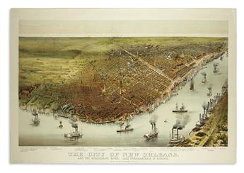 CURRIER & IVES. The City of New Orleans, and the Mississippi River. Lake Pontchartrain in Distance.