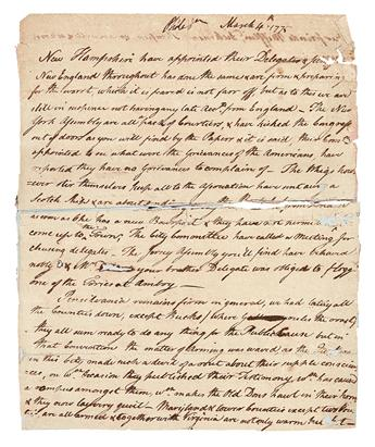 (AMERICAN REVOLUTION--PRELUDE.) Fragmentary letter reporting on the delegates to the pending Second Continental Congress.