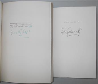 (WRITERS.) Two limited edition books, each Signed: James Stevens * John Galsworthy.