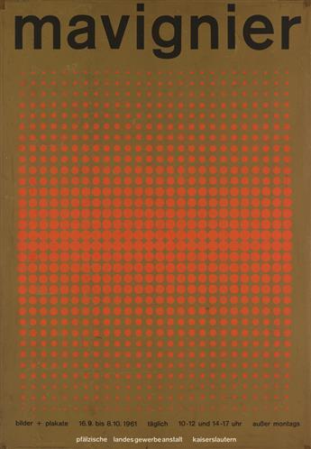 ALMIR MAVIGNIER (1925- ). MAVIGNIER. 1961. 33x23 inches, 85x59 cm. Miller, Ulm.