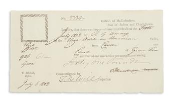 MELVILL, THOMAS. Partly-printed Document Signed, T Melvill, as Inspector of the Port of Boston,