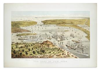CURRIER & IVES. The Port of New York. Birds Eye View From The Battery, Looking South.