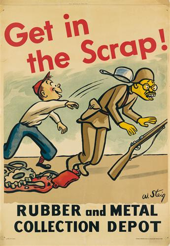 WILLIAM STEIG (1907-2003). GET IN THE SCRAP! / RUBBER AND METAL COLLECTION DEPOT. Circa 1942. 57x39 inches, 146x101 cm. National Printi