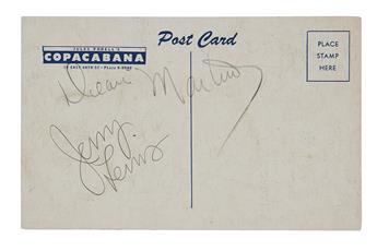 MARTIN, DEAN; AND JERRY LEWIS. Postcard Signed, by both, in pencil,
