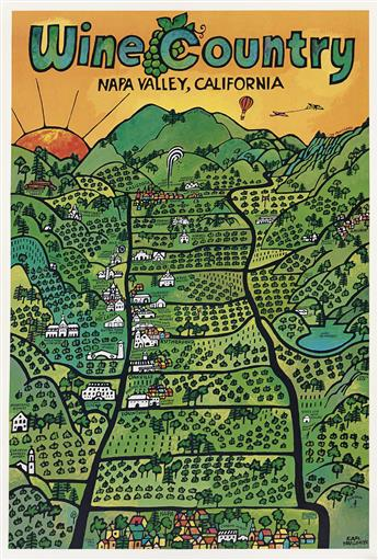 EARL THOLLANDER (1923-2001). WINE COUNTRY / CALIFORNIA. Two posters. 1973 & 1974. Each 36x23 inches, 91x60 cm. Tree Nut, California.