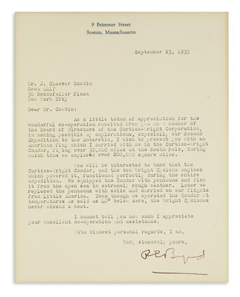 BYRD, RICHARD E. Typed Letter Signed, REByrd, to American financier John Cheever Cowdin,