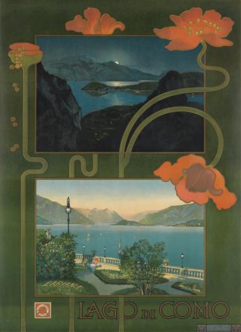 DESIGNER UNKNOWN. LAGO DI COMO. 1899. 39x27 inches, 99x70 cm. Chiattone, Milan.