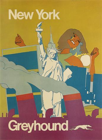 DESIGNER UNKNOWN. NEW YORK / GREYHOUND. Circa 1960s. 38x28 inches, 96x71 cm.