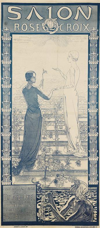 CARLOS SCHWABE (1866-1926). SALON ROSE CROIX. 1892. 70x31 inches, 179x78 cm. Draeger & Lesieur, Paris.