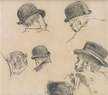 WINSLOW HOMER Studies of Men in Hats.