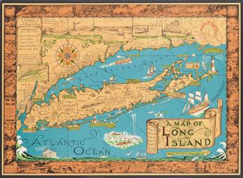 COURTLAND SMITH (1907-2005). MAP OF LONG ISLAND. 1961. 19x26 inches, 50x68 cm. Gerson Offset Litho Co., Inc., New York.