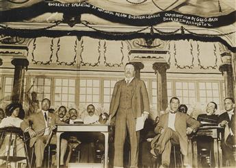 (TUSKEGEE INSTITUTE) GEORGE BAIN Theodore Roosevelt addressing the National Negro Business League, with Booker T. Washington, founder o