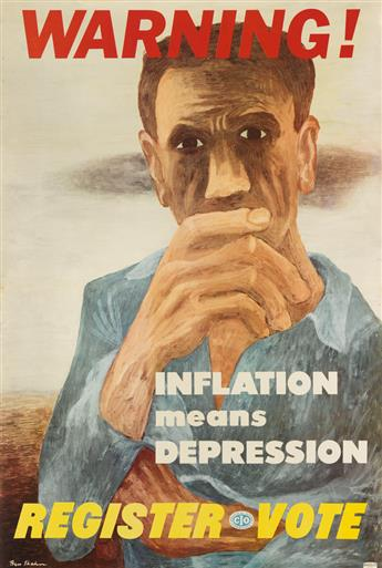 BEN SHAHN (1898-1969). WARNING! / INFLATION MEANS DEPRESSION. 1946. 41x27 inches, 104x70 cm. L.I.P. & B.A., New York.
