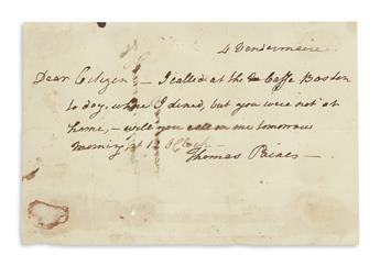PAINE, THOMAS. Brief Autograph Letter Signed, to Ira Allen (Dear Citizen):
