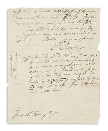 PICKERING, TIMOTHY. Autograph Letter Signed, T. Pickering, as Senator, to James McHenry,