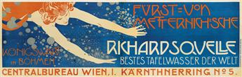 KOLOMAN MOSER (1868-1918). RICHARDSQUELLE. 1899. 23x71 inches, 58x180 cm. Friedr. Sperl, Vienna.