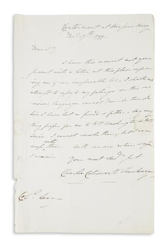 PINCKNEY, CHARLES COATESWORTH. Autograph Letter Signed, to Washingtons personal secretary Tobias Lear,