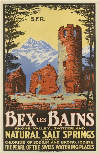 RENÉ MICHAUD (DATES UNKNOWN). BEX LES BAINS / NATURAL SALT SPRINGS. 39x25 inches, 99x64 cm. Affiches Sonor, Geneva.