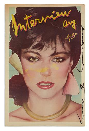 ANDY WARHOL. Two complete 1979 issues of Interview magazine, each Signed and Inscribed, to Mickey Tinter. ...