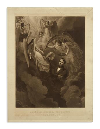(PRINTS--MEMORIAL.) Sartain after W.H. Hermans. Abraham Lincoln, the Martyr, Victorious.