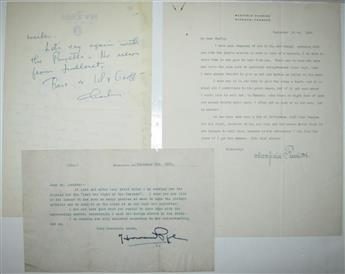 (ARTISTS.) Three letters, each Signed by a 20th-century illustrator: Charles Addams * Maxfield Parrish * Howard Pyle.