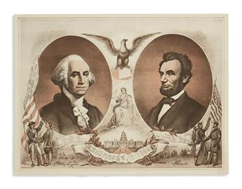 (PRINTS--MEMORIAL.) Group of 4 prints of Washington and Lincoln together.
