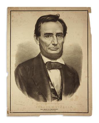 (PRINTS--MEMORIAL.) Group of 4 large memorial prints of Lincoln.
