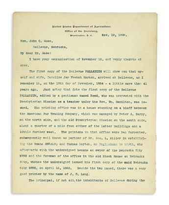 (NEBRASKA.) Morton, J. Sterling. Letter recalling the early settlement of Nebraska.