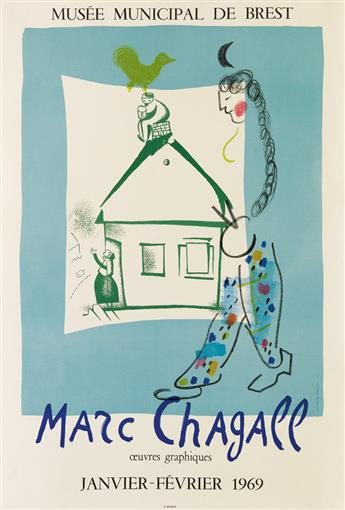 DAPRÈS MARC CHAGALL (1887-1985). MARC CHAGALL / OEUVRES GRAPHIQUES. 1969. 29x19 inches, 73x48 cm. Mourlot, Paris.