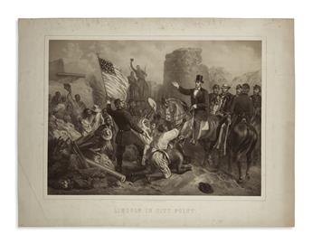 (PRINTS--MEMORIAL.) Hartwich, F., lithographer; after G. Bartsch. Lincoln in City Point.