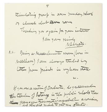 WYETH, N.C. Autograph Letter Signed, with a postscript Signed, W, to My dear Mr. Barrett,