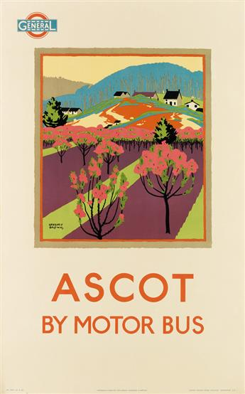 F. GREGORY BROWN (1887-1941). ASCOT BY MOTOR BUS. 1922. 39x24 inches, 101x63 cm. Waterlow & Sons Ltd. Lith., London.