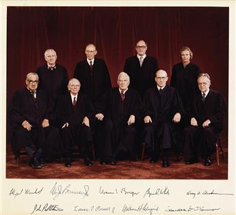 (SUPREME COURT.) Large color group Photograph Signed, by each Justice of the Burger Court: