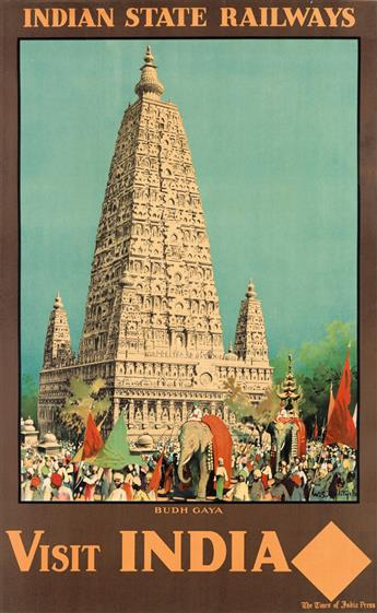 WILLIAM SPENCER BAGDATOPOULOS (1888-1965). VISIT INDIA / BUDH GAYA. 39x24 inches, 99x61 cm. [M.S. Associated Printers, Madras.]
