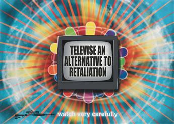 S.A. BACHMAN (1957- ). TELEVISE AN ALTERNATIVE TO RETALIATION / WATCH VERY CAREFULLY. 44x65 inches, 111x167 cm.