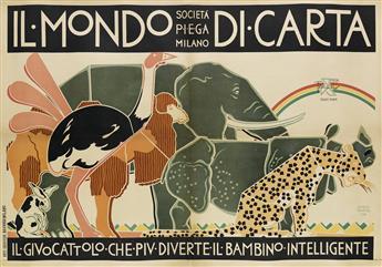 GUIDO MARUSSIG (1885-1973). IL MONDO DI CARTA. Circa 1920. 27x39 inches, 70x100 cm. Arti Grafiche Navarra, Milan.