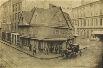 JOHN A. WHIPPLE, ATTRIBUTED TO (1822-1891) The Old Feather Store on the corner of North Street and Dock Square, near Faneuil Hall.