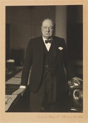 CHURCHILL, WINSTON S. Photograph Signed, ¾-length portrait by Walter Stoneman,