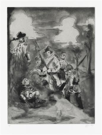 KARA WALKER (1969 -   ) Set of 4 etchings with aquatint.